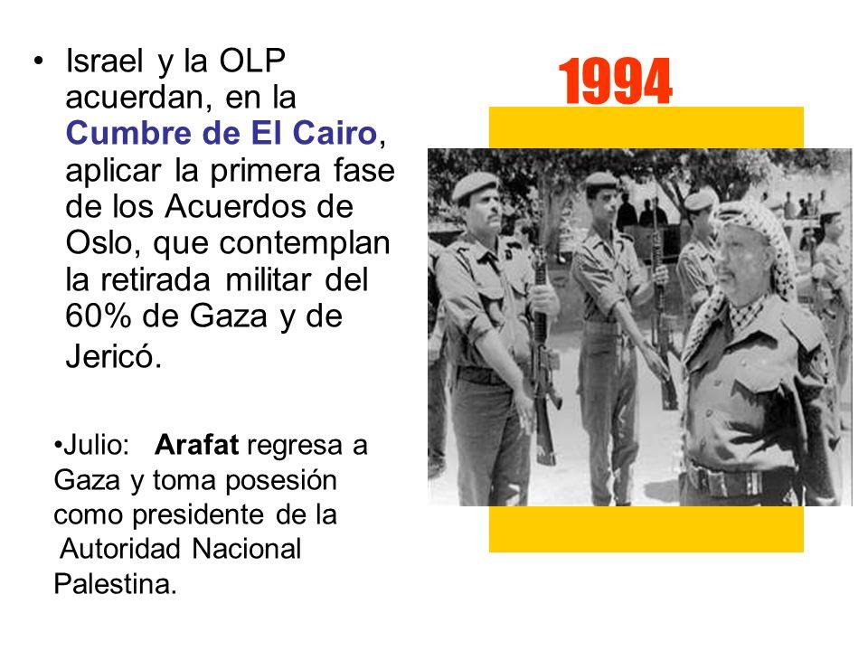 1994 Israel y la OLP acuerdan, en la Cumbre de El Cairo, aplicar la primera fase de los Acuerdos de Oslo, que contemplan la retirada militar del 60% d