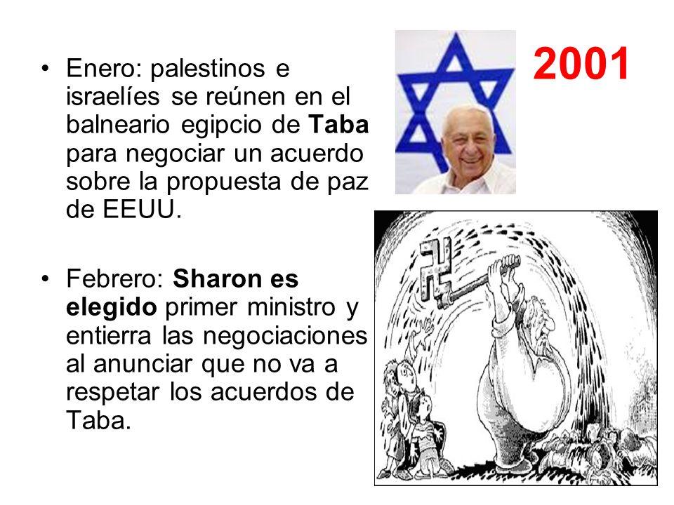 2001 Enero: palestinos e israelíes se reúnen en el balneario egipcio de Taba para negociar un acuerdo sobre la propuesta de paz de EEUU. Febrero: Shar