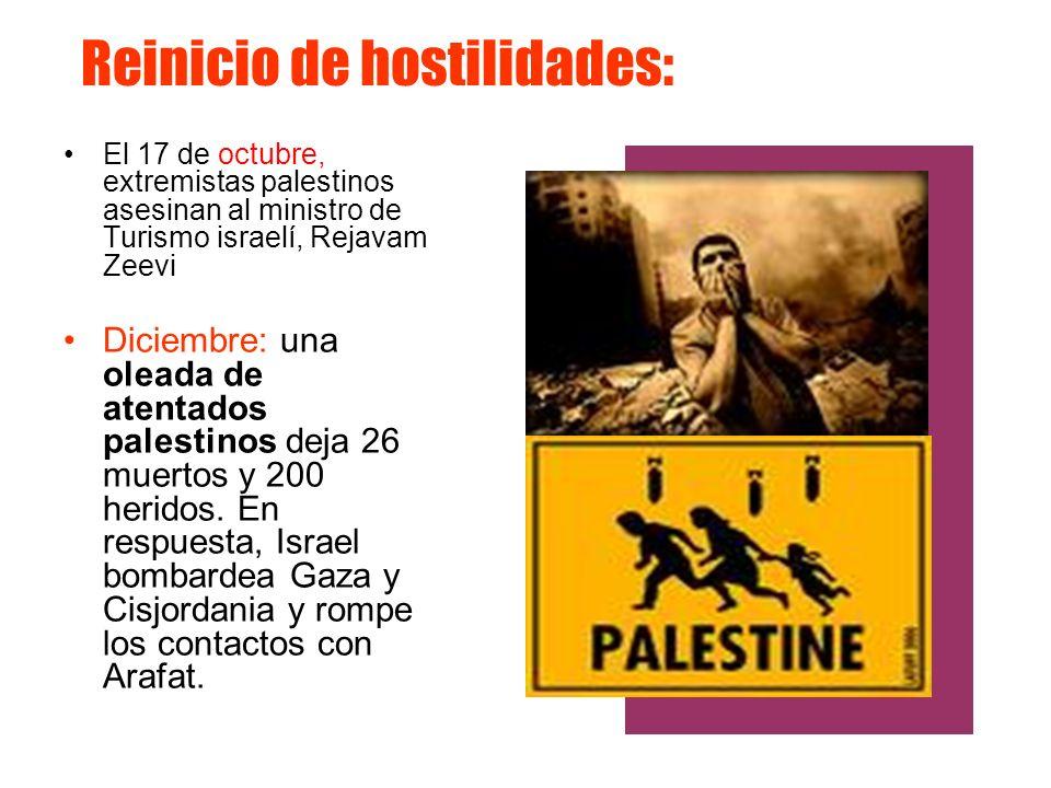 Reinicio de hostilidades: El 17 de octubre, extremistas palestinos asesinan al ministro de Turismo israelí, Rejavam Zeevi Diciembre: una oleada de ate