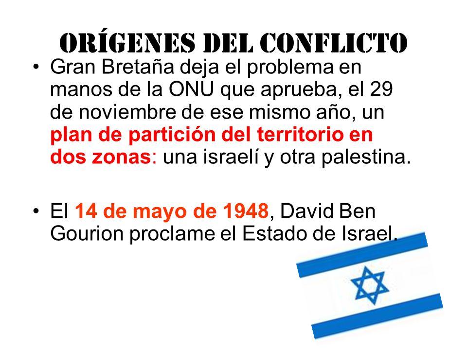 Orígenes del conflicto Gran Bretaña deja el problema en manos de la ONU que aprueba, el 29 de noviembre de ese mismo año, un plan de partición del ter