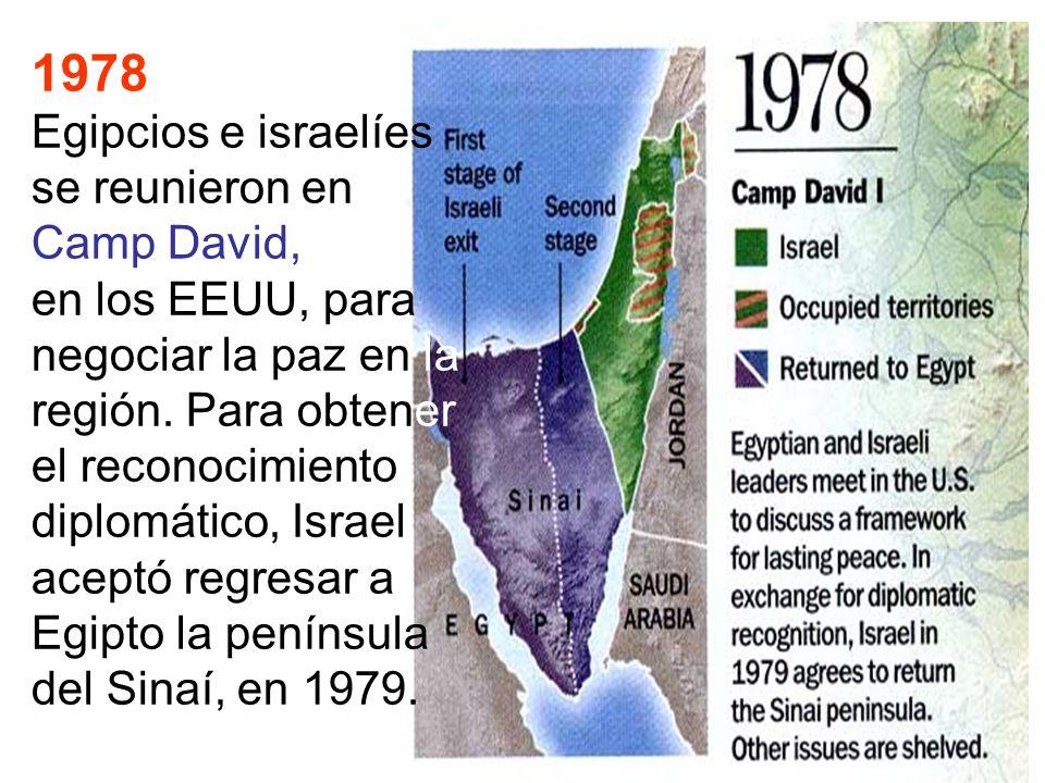 1978 Egipcios e israelíes se reunieron en Camp David, en los EEUU, para negociar la paz en la región. Para obtener el reconocimiento diplomático, Isra
