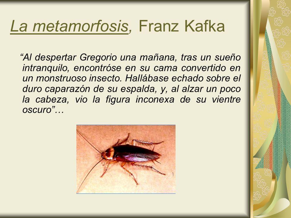 La metamorfosis, Franz Kafka Al despertar Gregorio una mañana, tras un sueño intranquilo, encontróse en su cama convertido en un monstruoso insecto. H