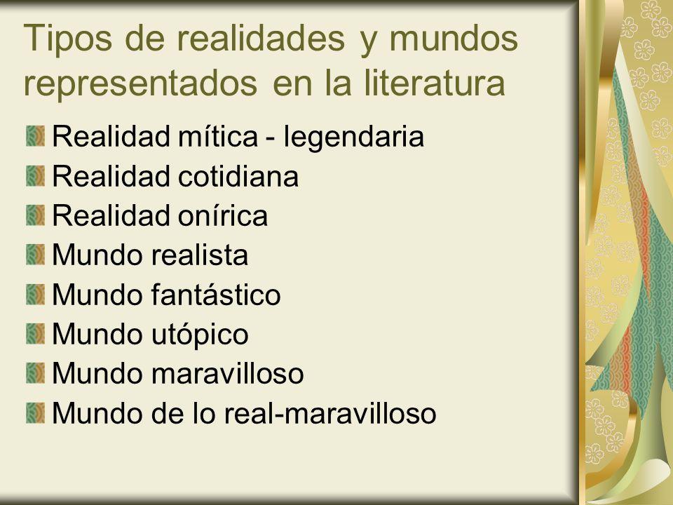 Tipos de realidades y mundos representados en la literatura Realidad mítica - legendaria Realidad cotidiana Realidad onírica Mundo realista Mundo fant
