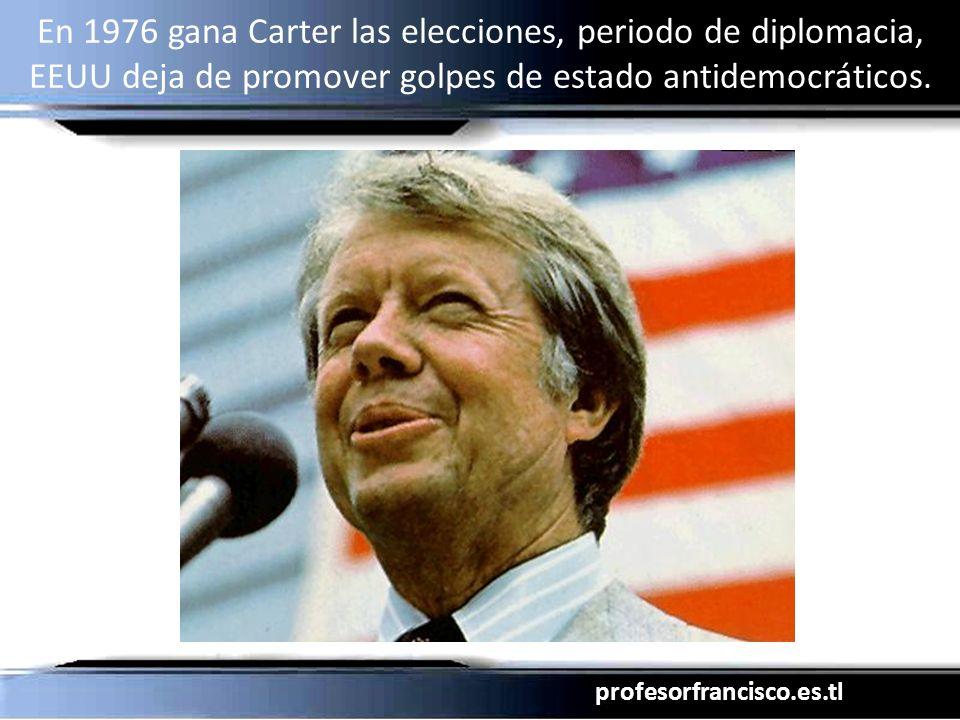 profesorfrancisco.es.tl En 1976 gana Carter las elecciones, periodo de diplomacia, EEUU deja de promover golpes de estado antidemocráticos.