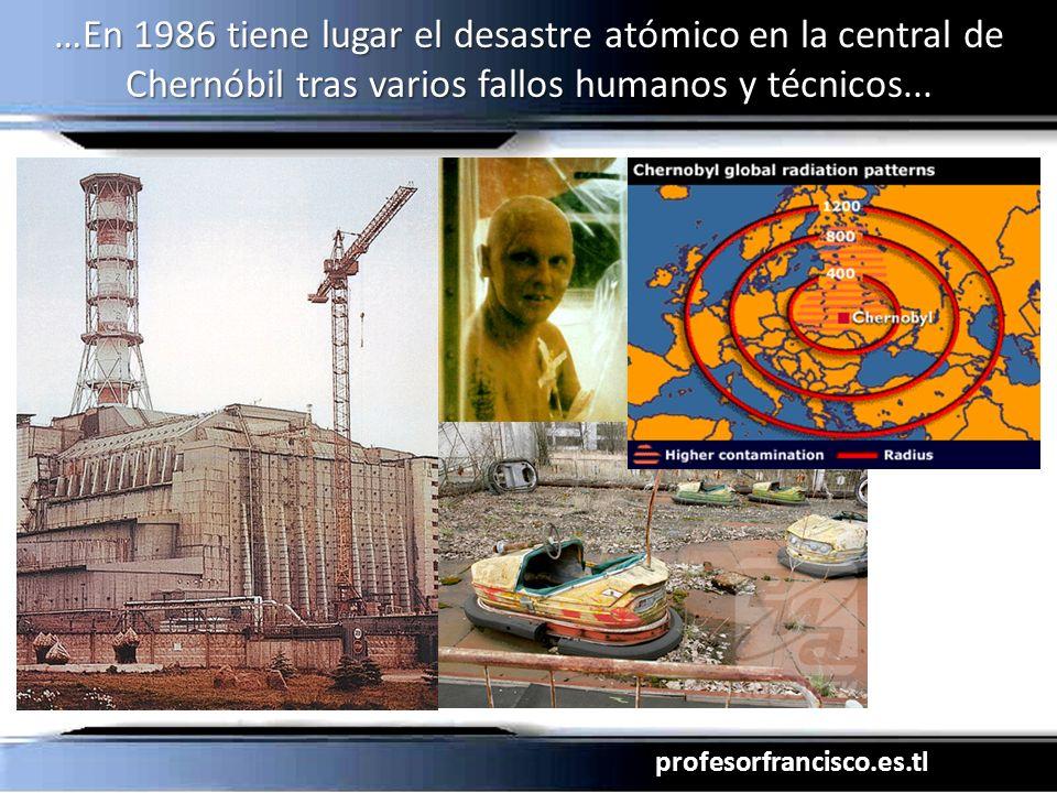 profesorfrancisco.es.tl …En 1986 tiene lugar el desastre atómico en la central de Chernóbil tras varios fallos humanos y técnicos...