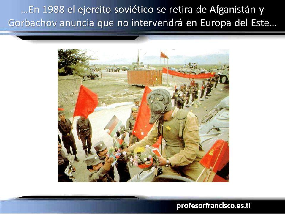 profesorfrancisco.es.tl …En 1988 el ejercito soviético se retira de Afganistán y Gorbachov anuncia que no intervendrá en Europa del Este… Havel Lech W