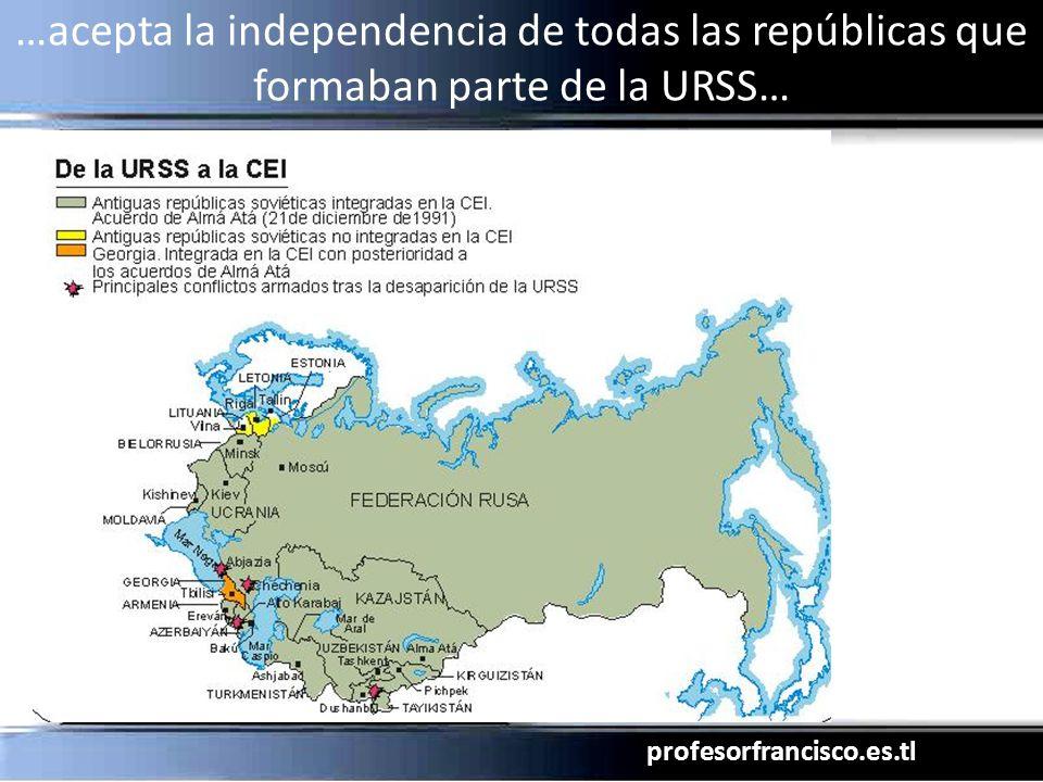 profesorfrancisco.es.tl …acepta la independencia de todas las repúblicas que formaban parte de la URSS…