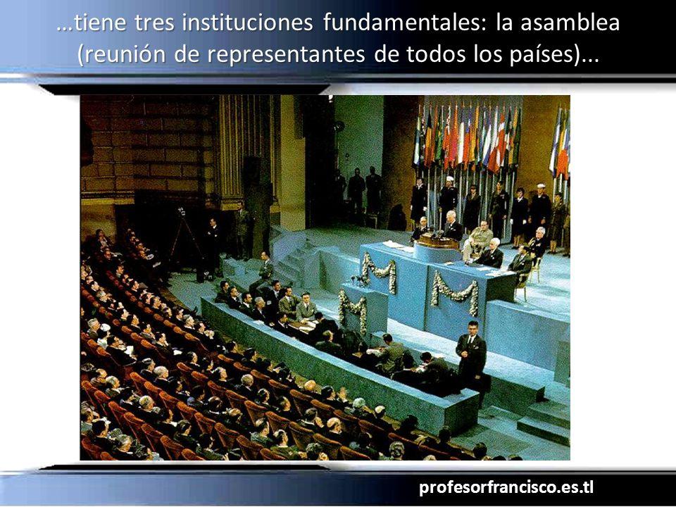 profesorfrancisco.es.tl …tiene tres instituciones fundamentales: la asamblea (reunión de representantes de todos los países)...