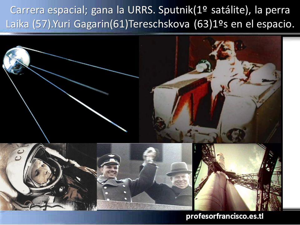 profesorfrancisco.es.tl Carrera espacial; gana la URRS. Sputnik(1º satálite), la perra Laika (57).Yuri Gagarin(61)Tereschskova (63)1ºs en el espacio.