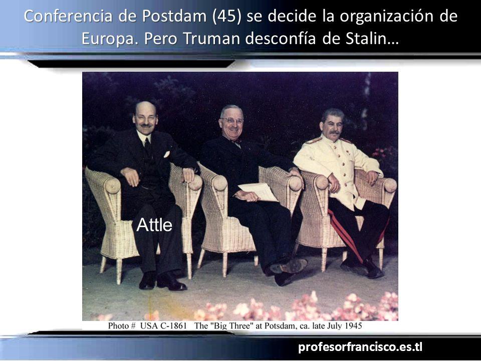 profesorfrancisco.es.tl Conferencia de Postdam (45) se decide la organización de Europa. Pero Truman desconfía de Stalin… Attle