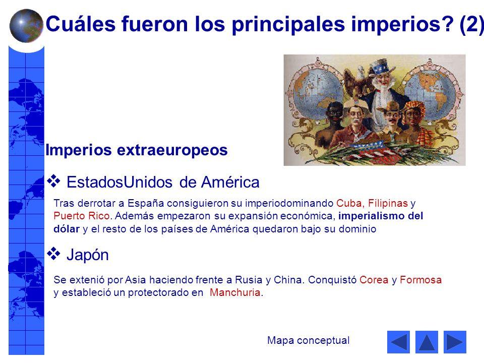 Imperios extraeuropeos EstadosUnidos de América Japón Tras derrotar a España consiguieron su imperiodominando Cuba, Filipinas y Puerto Rico.