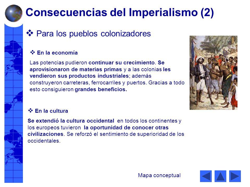 Para los pueblos colonizadores En la economía Las potencias pudieron continuar su crecimiento.