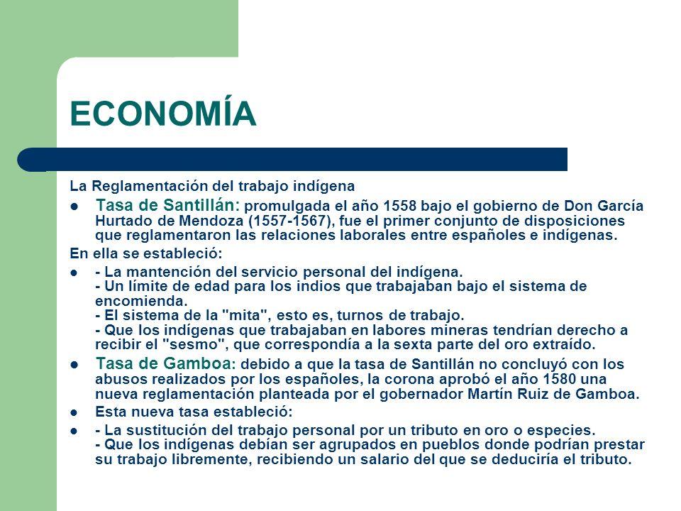 ECONOMÍA La Reglamentación del trabajo indígena Tasa de Santillán: promulgada el año 1558 bajo el gobierno de Don García Hurtado de Mendoza (1557-1567