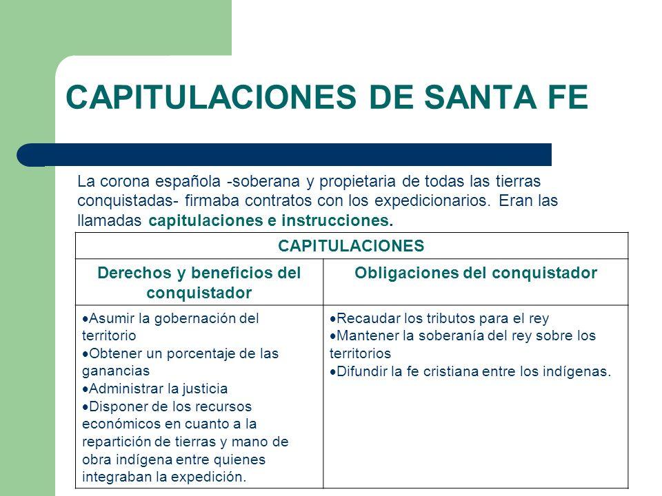 CAPITULACIONES DE SANTA FE La corona española -soberana y propietaria de todas las tierras conquistadas- firmaba contratos con los expedicionarios. Er