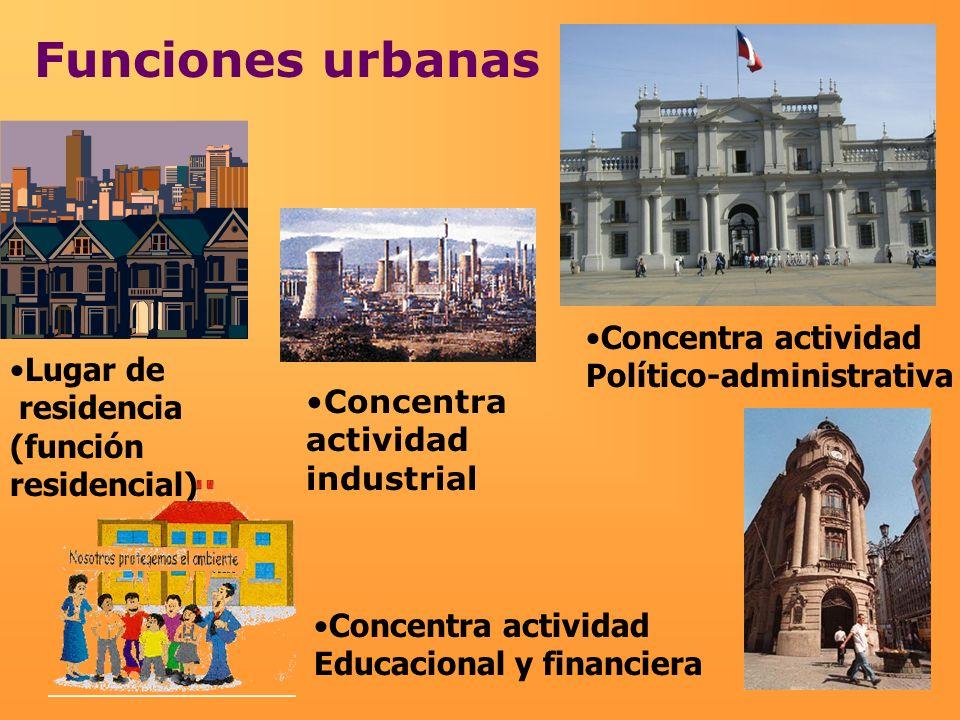 Funciones urbanas Concentra actividad Político-administrativa Lugar de residencia (función residencial) Concentra actividad Educacional y financiera C