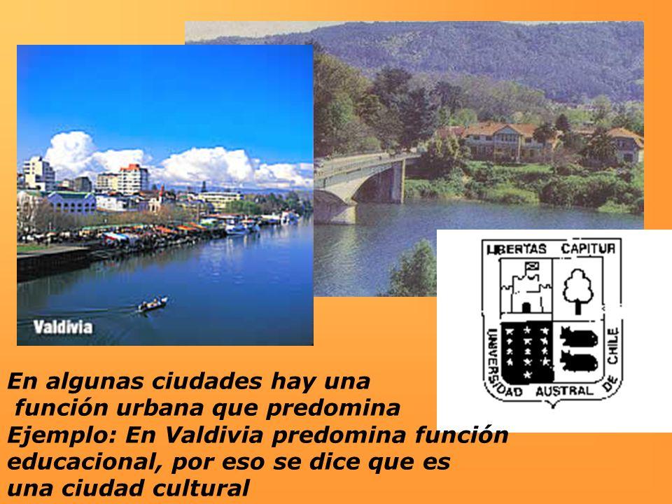 En algunas ciudades hay una función urbana que predomina Ejemplo: En Valdivia predomina función educacional, por eso se dice que es una ciudad cultura