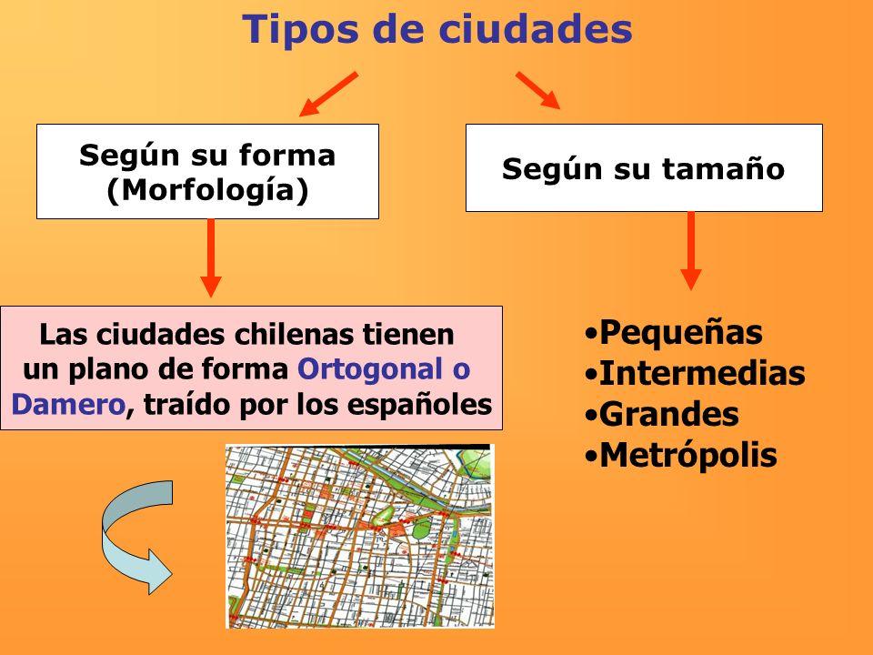Tipos de ciudades Según su forma (Morfología) Según su tamaño Las ciudades chilenas tienen un plano de forma Ortogonal o Damero, traído por los españo