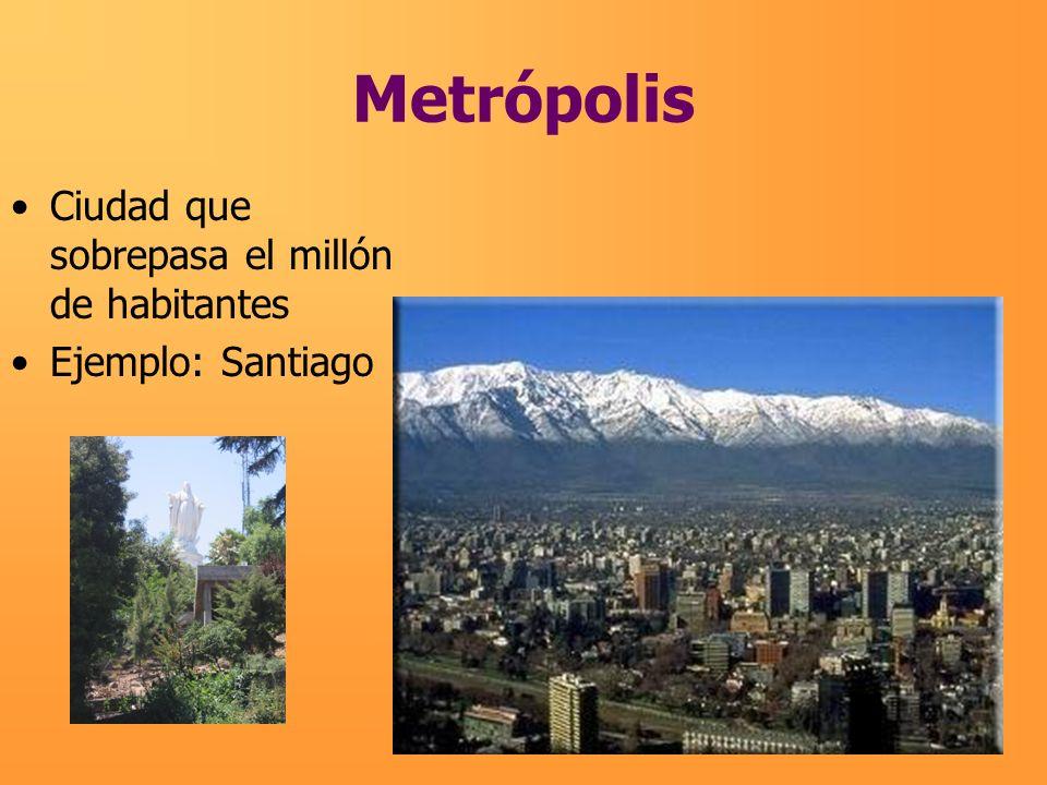 Metrópolis Ciudad que sobrepasa el millón de habitantes Ejemplo: Santiago