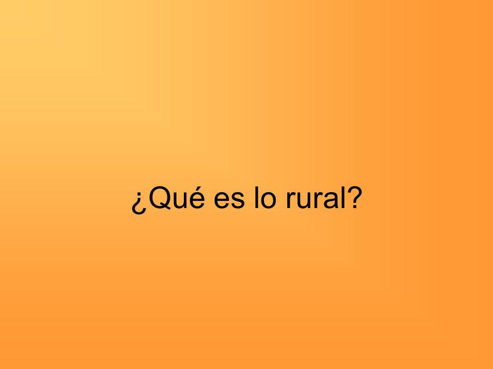 ¿Qué es lo rural?
