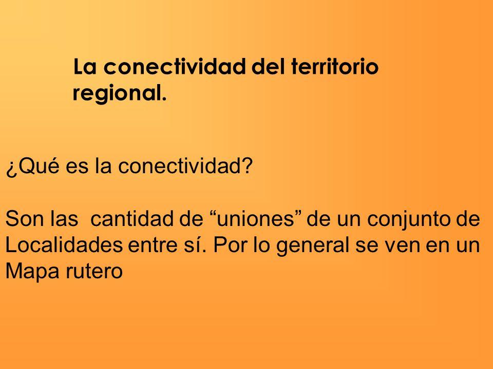 La conectividad del territorio regional. ¿Qué es la conectividad? Son las cantidad de uniones de un conjunto de Localidades entre sí. Por lo general s