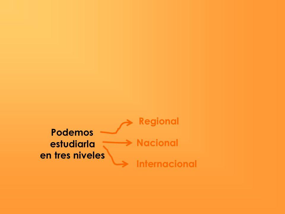 Podemos estudiarla en tres niveles Regional Nacional Internacional