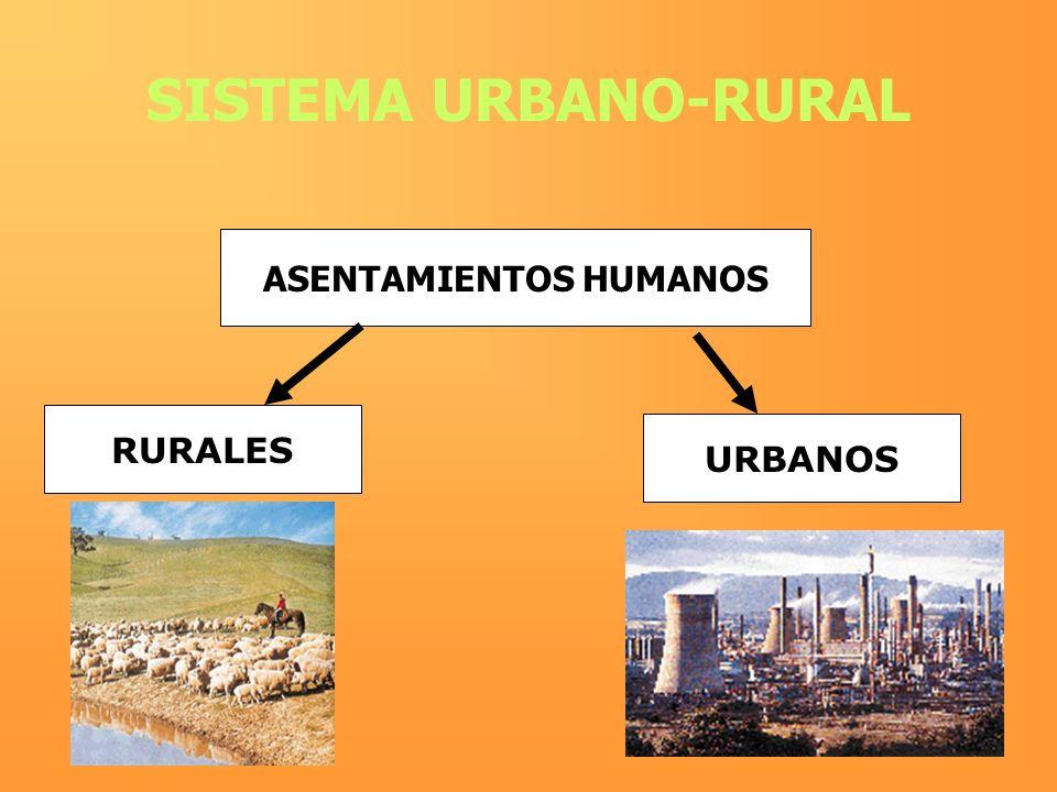 SISTEMA URBANO-RURAL ASENTAMIENTOS HUMANOS RURALES URBANOS
