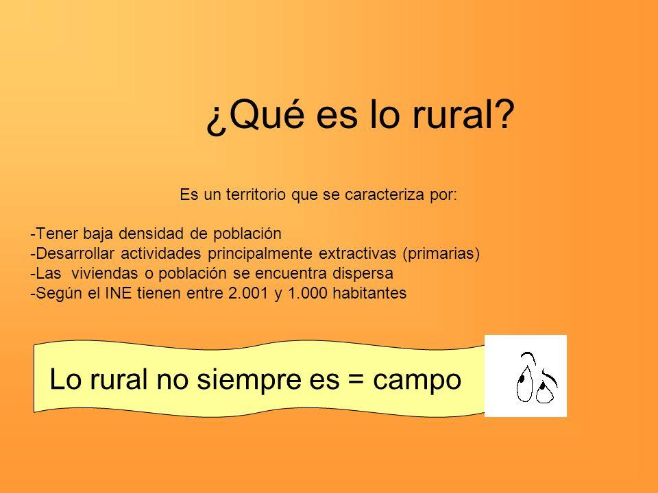 ¿Qué es lo rural? Es un territorio que se caracteriza por: -Tener baja densidad de población -Desarrollar actividades principalmente extractivas (prim
