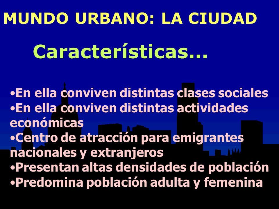 MUNDO URBANO: LA CIUDAD En ella conviven distintas clases sociales En ella conviven distintas actividades económicas Centro de atracción para emigrant