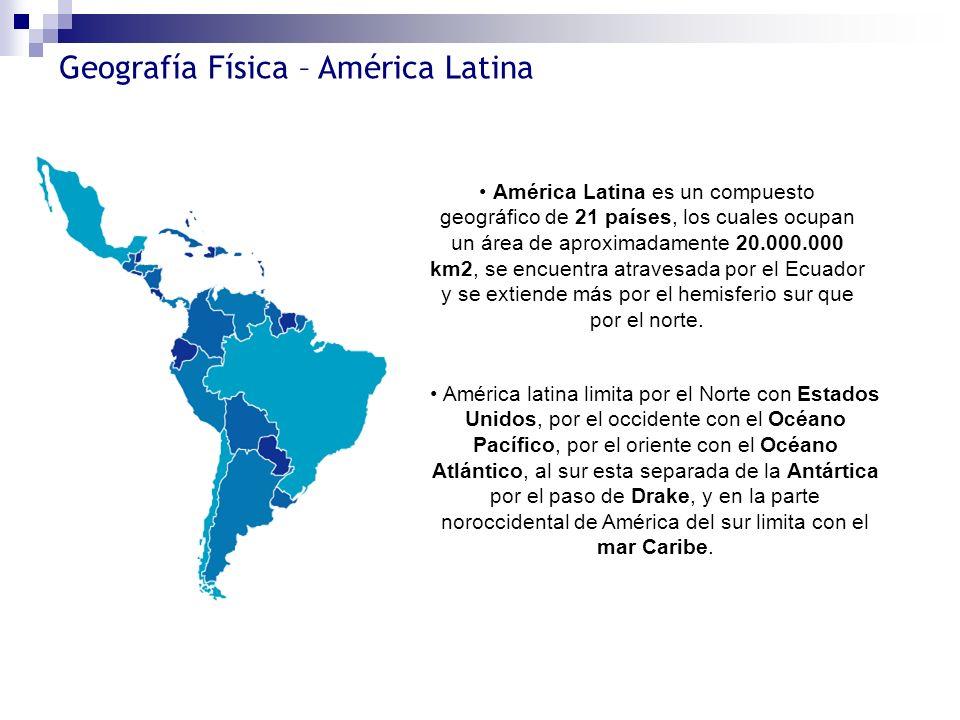 Geografía Física – América Latina América Latina es un compuesto geográfico de 21 países, los cuales ocupan un área de aproximadamente 20.000.000 km2,
