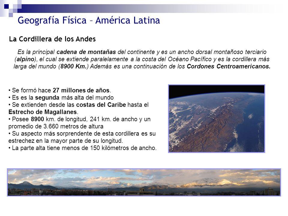 Geografía Física – América Latina La Cordillera de los Andes Es la principal cadena de montañas del continente y es un ancho dorsal montañoso terciari