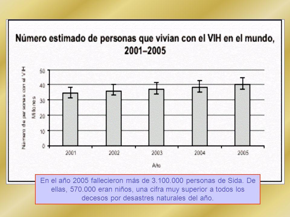 En el año 2005 fallecieron más de 3.100.000 personas de Sida. De ellas, 570.000 eran niños, una cifra muy superior a todos los decesos por desastres n