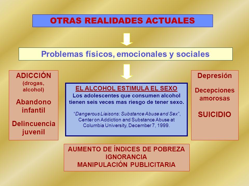 EL ALCOHOL ESTIMULA EL SEXO Los adolescentes que consumen alcohol tienen seis veces mas riesgo de tener sexo. Dangerous Liaisons: Substance Abuse and