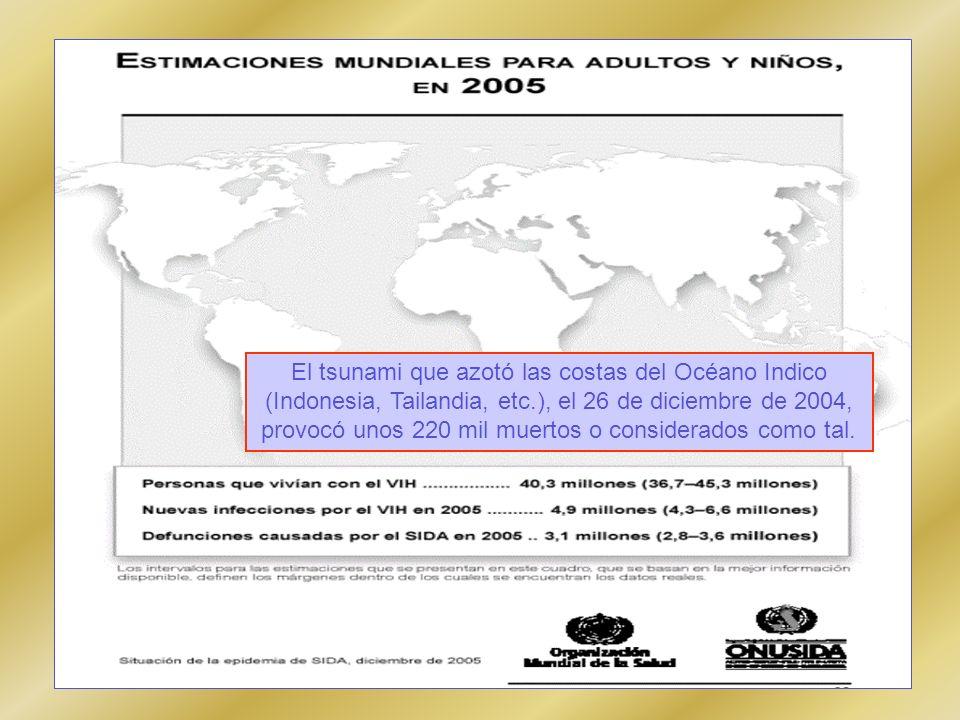 El tsunami que azotó las costas del Océano Indico (Indonesia, Tailandia, etc.), el 26 de diciembre de 2004, provocó unos 220 mil muertos o considerado