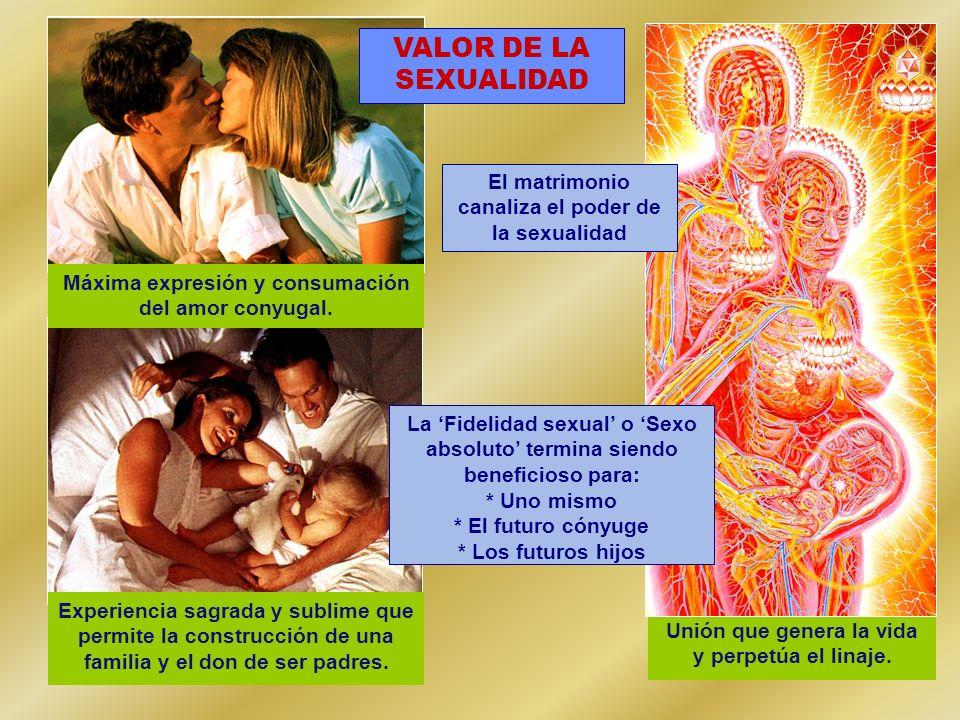 Unión que genera la vida y perpetúa el linaje. Experiencia sagrada y sublime que permite la construcción de una familia y el don de ser padres. Máxima