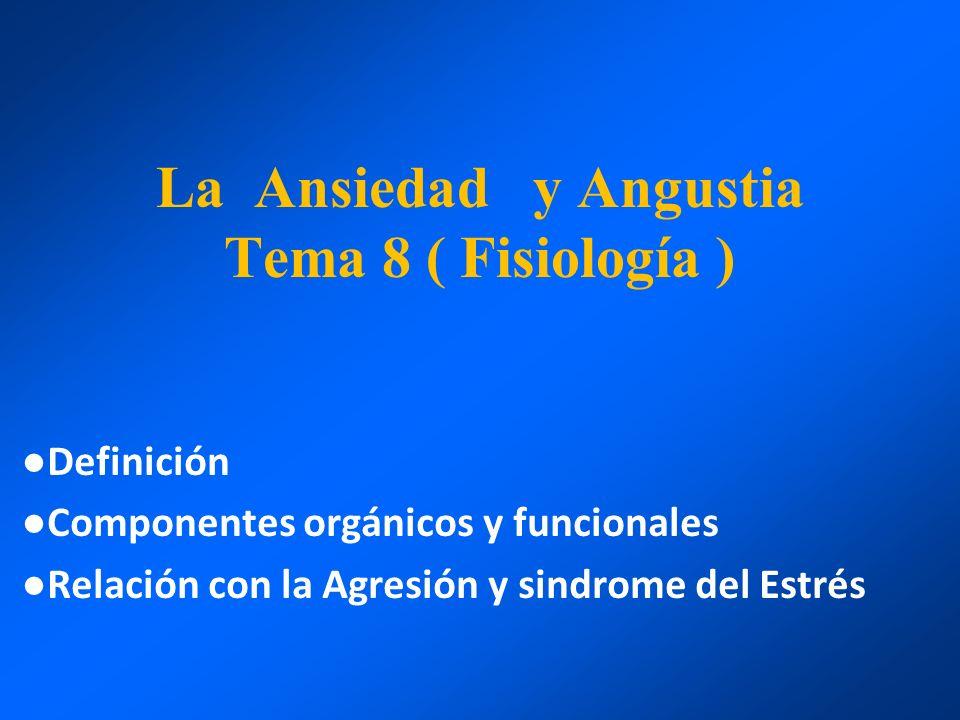 La Ansiedad y Angustia Tema 8 ( Fisiología ) Definición Componentes orgánicos y funcionales Relación con la Agresión y sindrome del Estrés
