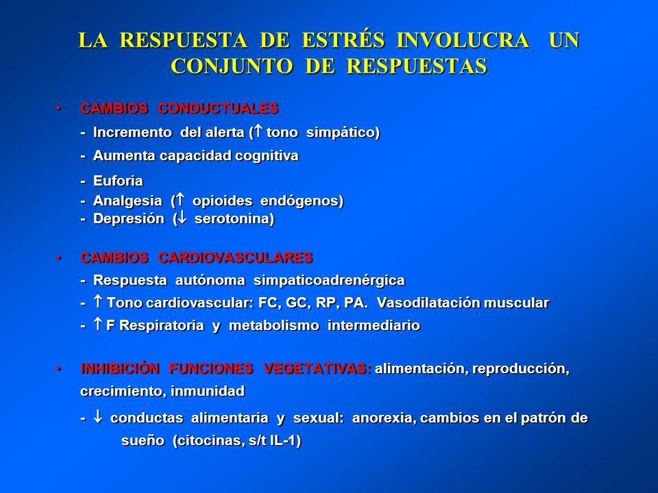LA RESPUESTA DE ESTRÉS INVOLUCRA UN CONJUNTO DE RESPUESTAS CAMBIOS CONDUCTUALESCAMBIOS CONDUCTUALES - Incremento del alerta ( tono simpático) - Increm