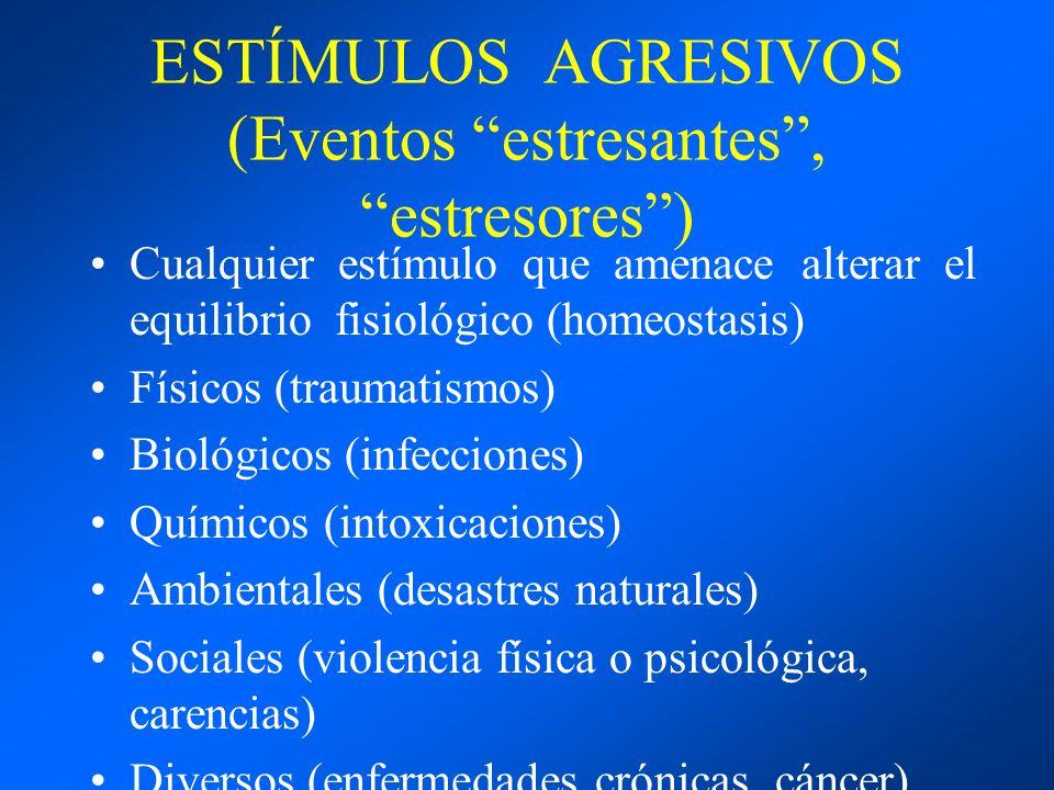 ESTÍMULOS AGRESIVOS (Eventos estresantes, estresores) Cualquier estímulo que amenace alterar el equilibrio fisiológico (homeostasis) Físicos (traumati