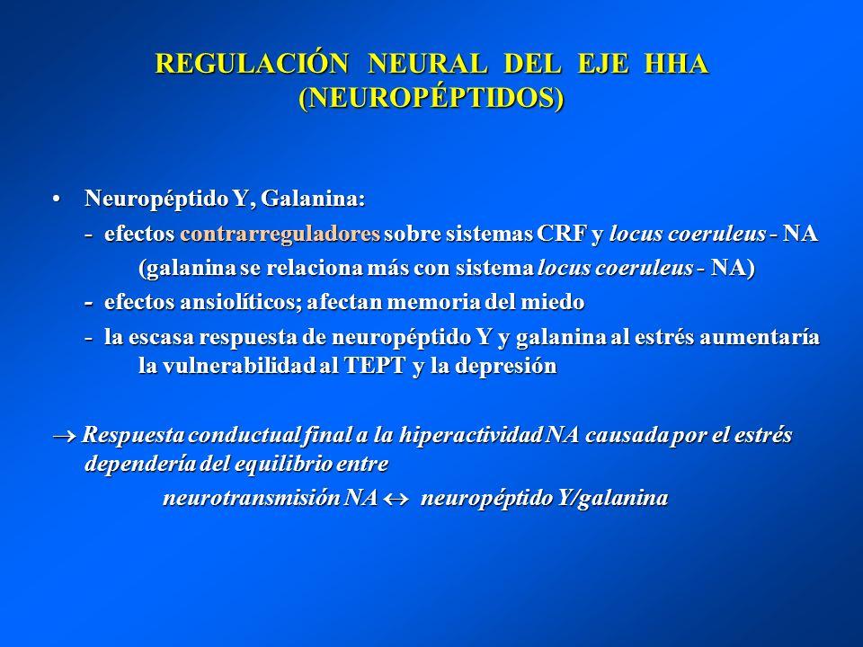 REGULACIÓN NEURAL DEL EJE HHA (NEUROPÉPTIDOS) Neuropéptido Y, Galanina:Neuropéptido Y, Galanina: - efectos contrarreguladores sobre sistemas CRF y loc