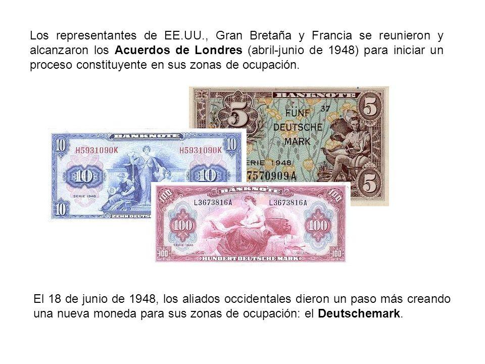 Los representantes de EE.UU., Gran Bretaña y Francia se reunieron y alcanzaron los Acuerdos de Londres (abril-junio de 1948) para iniciar un proceso c