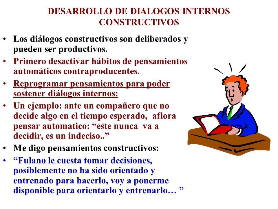DESARROLLO DE DIALOGOS INTERNOS CONSTRUCTIVOS Los diálogos constructivos son deliberados y pueden ser productivos. Primero desactivar hábitos de pensa