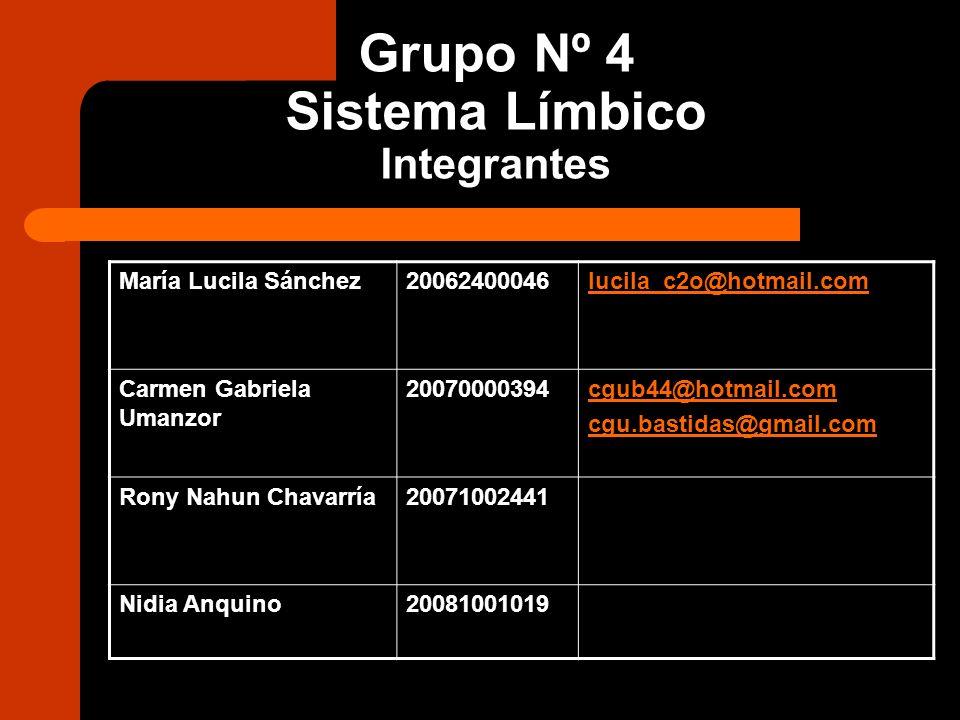 Grupo Nº 4 Sistema Límbico Integrantes María Lucila Sánchez20062400046lucila_c2o@hotmail.com Carmen Gabriela Umanzor 20070000394cgub44@hotmail.com cgu