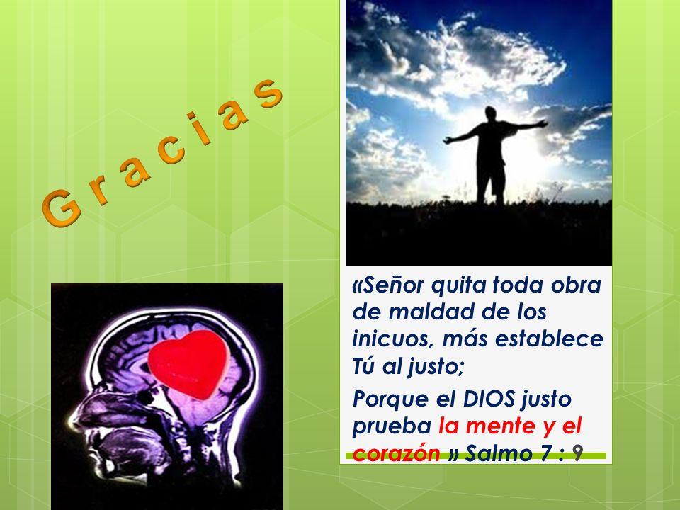 «Señor quita toda obra de maldad de los inicuos, más establece Tú al justo; Porque el DIOS justo prueba la mente y el corazón » Salmo 7 : 9