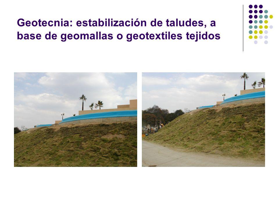 Geotecnia: estabilización de taludes, a base de geomallas o geotextiles tejidos