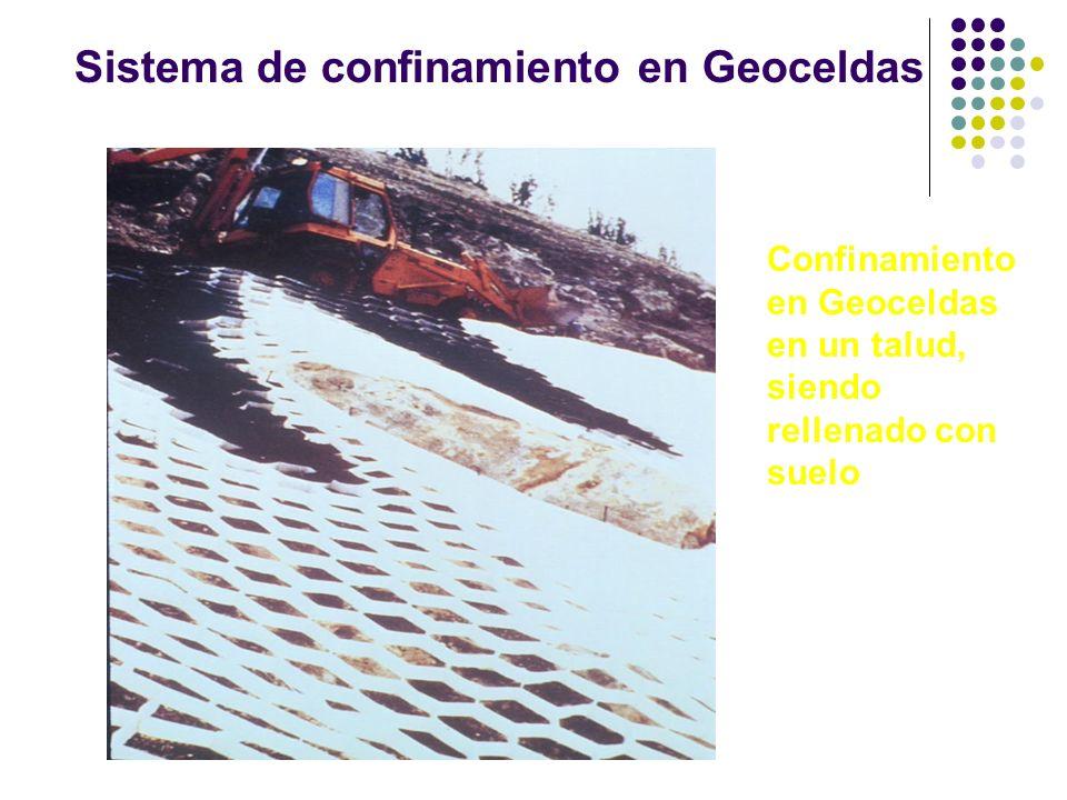 Sistema de confinamiento en Geoceldas Confinamiento en Geoceldas en un talud, siendo rellenado con suelo