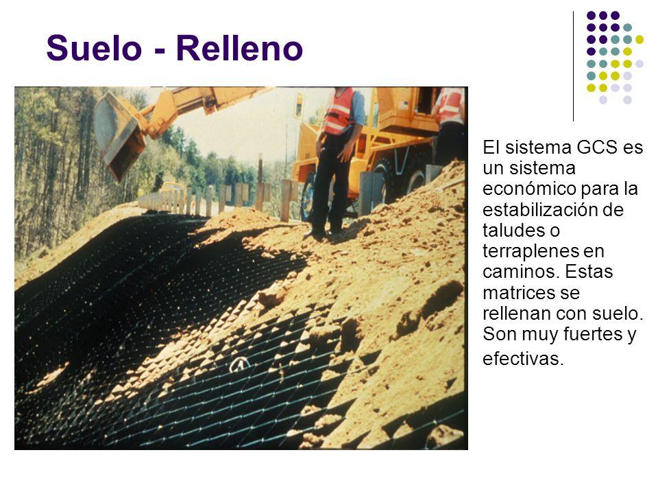 Suelo - Relleno El sistema GCS es un sistema económico para la estabilización de taludes o terraplenes en caminos. Estas matrices se rellenan con suel