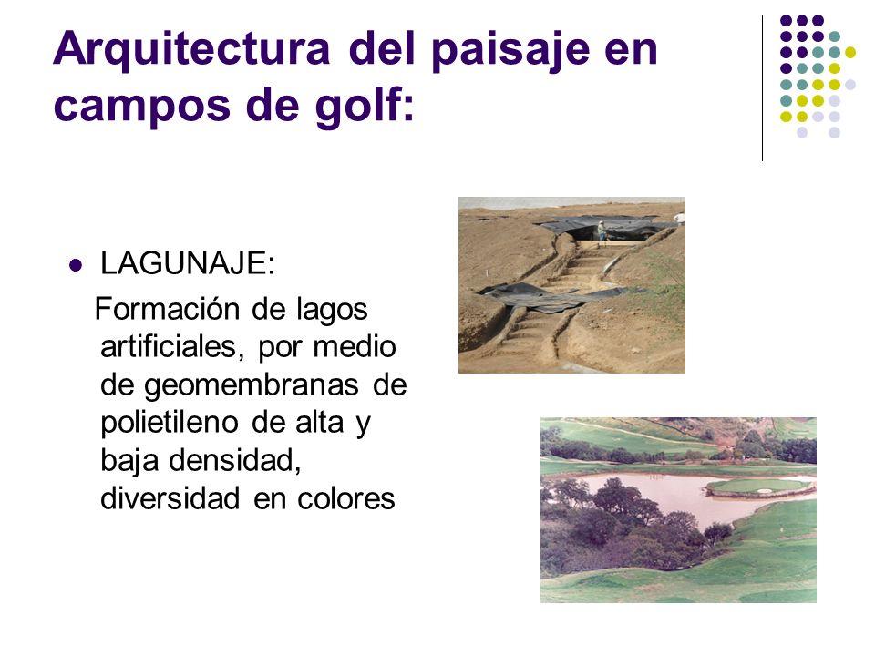 Arquitectura del paisaje en campos de golf: LAGUNAJE: Formación de lagos artificiales, por medio de geomembranas de polietileno de alta y baja densida