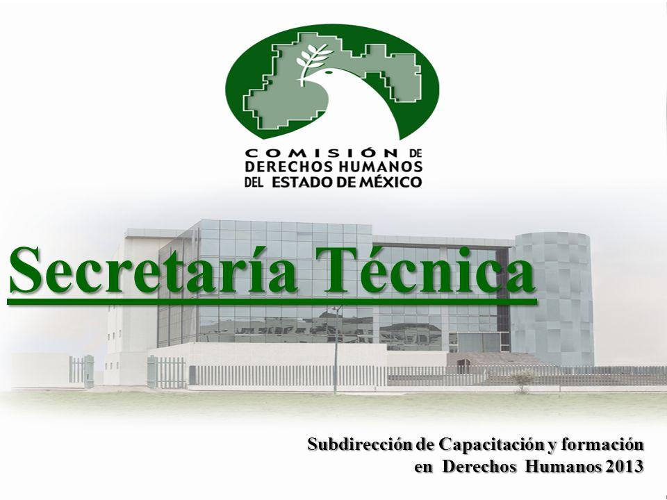 Secretaría Técnica Subdirección de Capacitación y formación en Derechos Humanos 2013