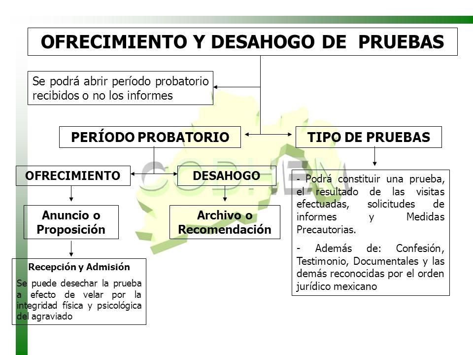 OFRECIMIENTO Y DESAHOGO DE PRUEBAS Se podrá abrir período probatorio recibidos o no los informes TIPO DE PRUEBAS - Podrá constituir una prueba, el res