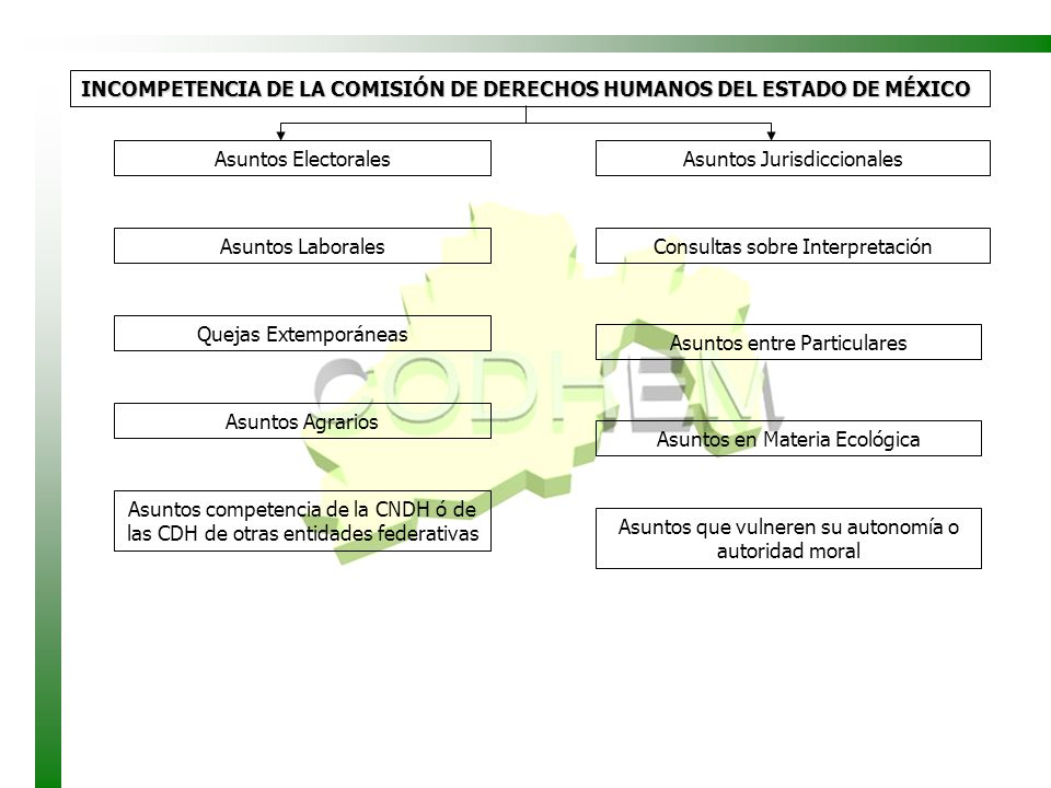 INCOMPETENCIA DE LA COMISIÓN DE DERECHOS HUMANOS DEL ESTADO DE MÉXICO Asuntos Electorales Asuntos Laborales Quejas Extemporáneas Asuntos Agrarios Asun