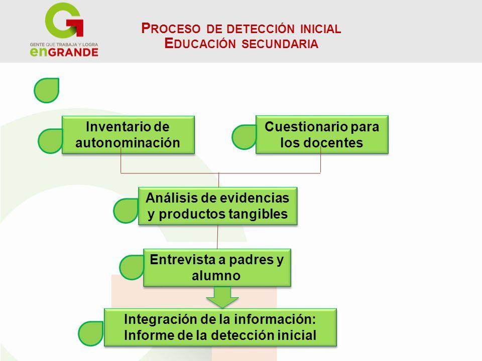 P ROCESO DE DETECCIÓN INICIAL E DUCACIÓN SECUNDARIA Inventario de autonominación Cuestionario para los docentes Análisis de evidencias y productos tan